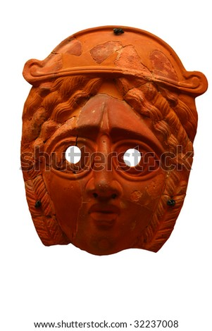 Antique greek woman mask isolated on white - stock photo