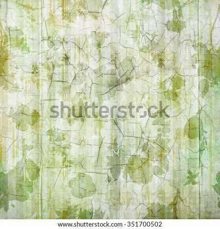 Antique Green Flowered Cracked Linen Background - stock photo