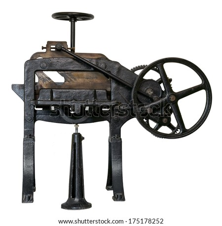 Antique guillotine for paper. Clipping path included. - stock photo