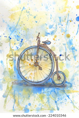 Antique high wheel bike - stock photo