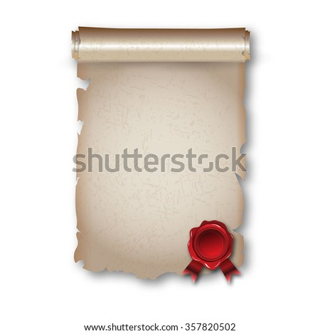 Antique historical paper scroll document - stock photo