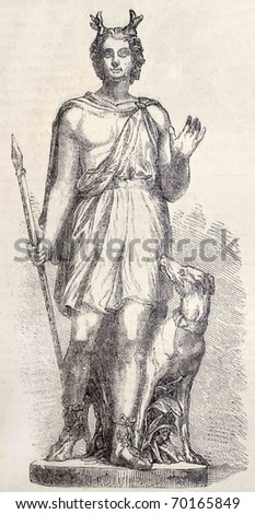 Antique illustration of a decorative Statue - by Fulconis - in Louvre Museum, portraying Actaeon. From drawing of Marc, published on L'Illustration, Journal Universel, Paris, 1860 - stock photo
