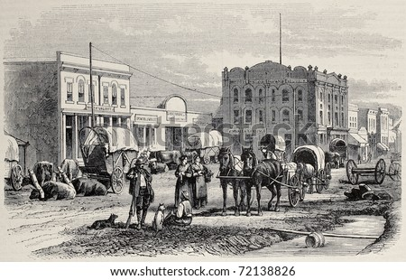 Antique illustration of a street in Salt Lake City, Utah. Original, created by Cosson-Smeeton, was published on L'Illustration, Journal Universel, Paris, 1968 - stock photo