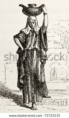 Antique illustration of Arab woman bearing water. Original, created by Hildibrand, was published on L'Eau, by G. Tissandier, Hachette, Paris, 1873