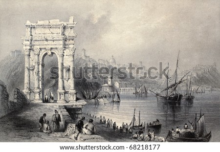 Antique illustration of Arco di Traiano in Ancona, Italy. Original created by W. H. Bartlett and J. Sands, published in Florence, Italy, 1842, Luigi Bardi ed. - stock photo