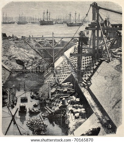 Antique illustration of construction site of a careening dock in Rio de Janeiro. Original, from photo of R. H. Klumb, was published on L'Illustration, Journal Universel, Paris, 1860 - stock photo