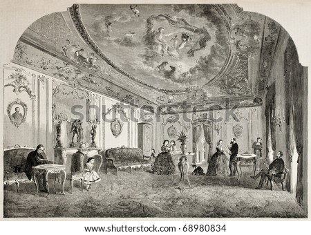 Antique illustration of Disderi's parlour, reception room of the famous French photographer. Original, from drawing of Lancelot, published on L'Illustration, Journal Universel, Paris, 1860