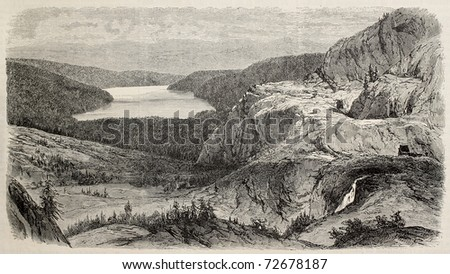 Antique illustration of Donner lake, northeast California. Original, created by Blanchard,  was published on L'Illustration, Journal Universel, Paris, 1868 - stock photo