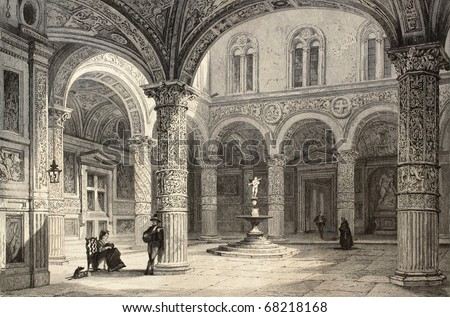 Antique illustration of  Palazzo Vecchio courtyard, in Florence, Italy. Original, created by T. Allom and J. Tingle, was published in Florence, Italy, 1842, Luigi Bardi ed. - stock photo