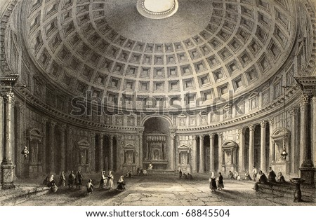 Antique illustration of  Pantheon in Rome, Italy. Original, created by W. H. Bartlett and E. Challis, was published in Florence, Italy, 1842, Luigi Bardi ed. - stock photo