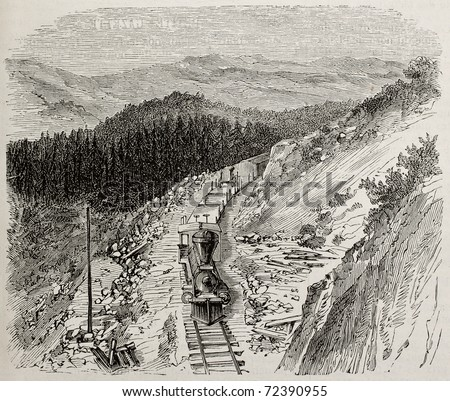 Antique illustration of rugged mountains along Union Pacific railroad, USA. Original, by Lancelot, was published on L'Illustration, Journal Universel, Paris, 1868 - stock photo