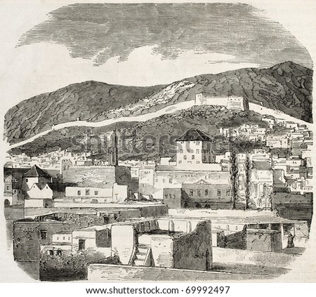 Antique illustration of Tetouan Kasbah, Morocco. Original engraving, after drawing of Gaildrau, was  published on L'Illustration, Journal Universel, Paris, 1860.