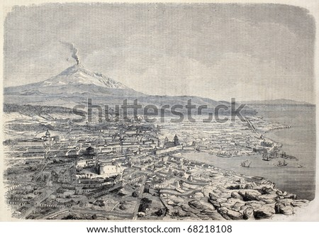 Antique illustration shows aerial view of Catania, the Sicilian city at the foot of Etna volcano, Italy. Original, by drawing of Guesdon, published on L'Illustration, Journal Universel, Paris, 1860 - stock photo