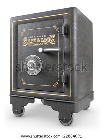 Antique iron safe isolated on white background - stock photo