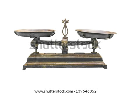 Antique iron scale Isolated on white background.With clipping path - stock photo