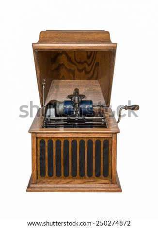 Antique Isolated Gramophone - Vintage tabletop cylinder phonograph circa 1920.  Blue celluloid cylinder.   Isolated on white. - stock photo