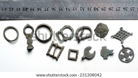 Antique jewelry items of clothing, 3-5 century AD - stock photo