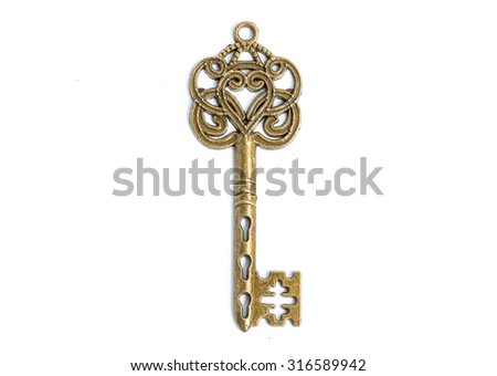 Antique Key on white background - stock photo