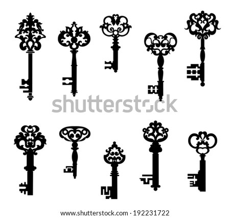 Antique keys set in retro style isolated on white background. Vector version also available in gallery - stock photo