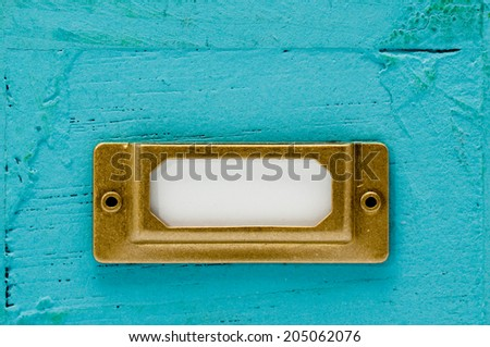 Antique label plate - stock photo