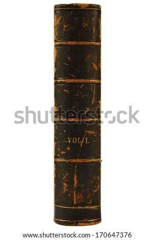 Antique leather book with spine facing out. - stock photo