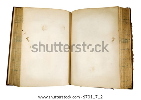 Antique leather bound 19th century book with aged blank pages and a clipping path - stock photo