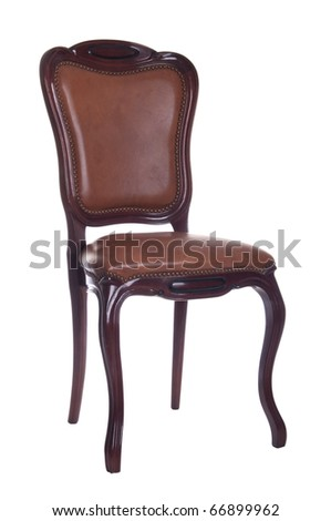 antique leather chair isolated on white background - stock photo
