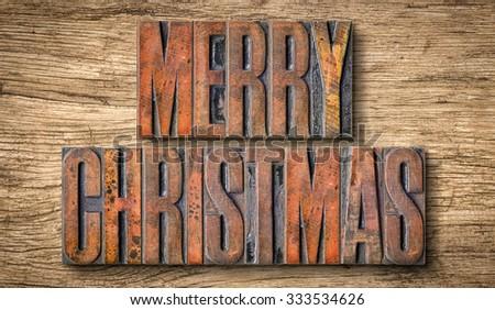 Antique letterpress wood type printing blocks - Merry Christmas - stock photo
