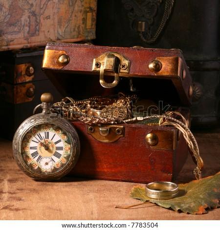 Antique looking clock - stock photo
