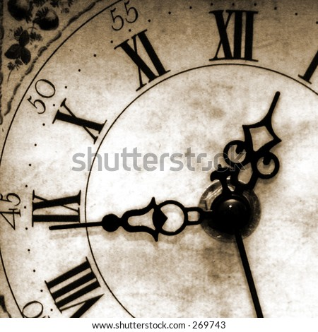 Antique looking clock face - stock photo