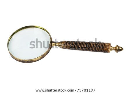 Antique magnifier isolated on white background with clipping path. Retro object. - stock photo