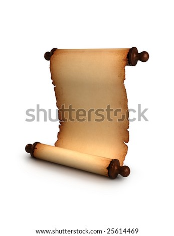 Antique manuscript isolated over a white background - stock photo