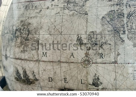 Antique Map/Globe - stock photo