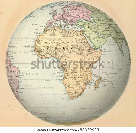 Antique map of Africa on the globe. From Atlas by F. A. Garnier, 1862. - stock photo