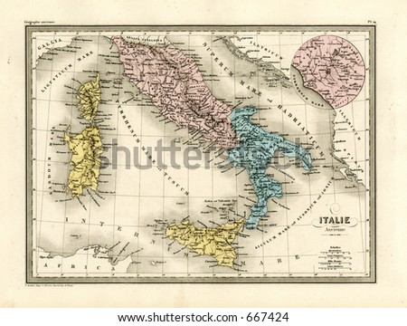 Antique Map of Ancient Italy and Rome 1860