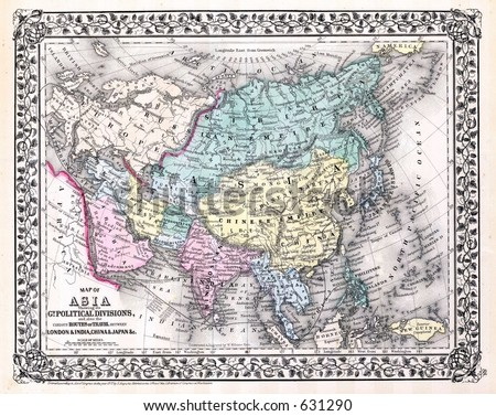 Antique Map of Asia in 1870 - stock photo