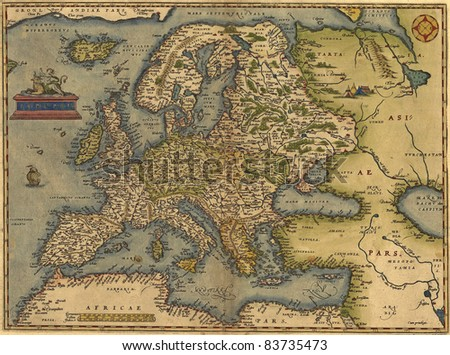 Antique Map of Europe,  by Abraham Ortelius, circa 1570 - stock photo