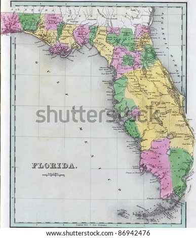 Antique map of Florida  from the out of print 1841 Goodrich atlas - stock photo