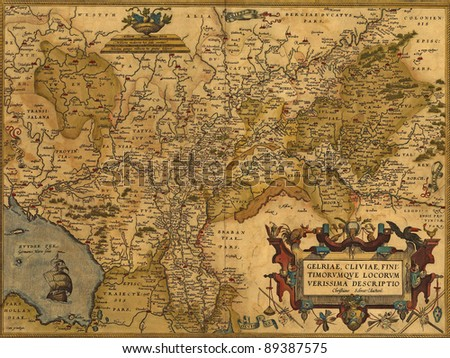 Antique Map of Germany and the Netherlands by Abraham Ortelius, circa 1570 - stock photo