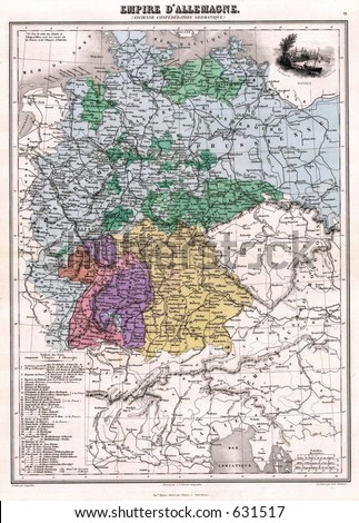 Antique Map of Germany in 1870