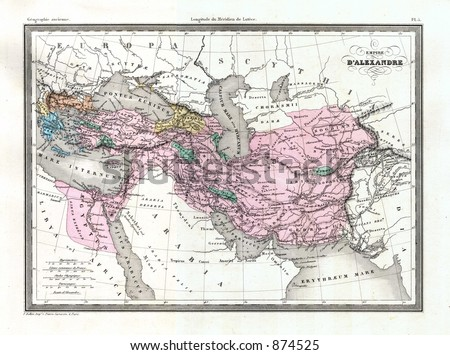 Antique 1875 Map of Greek Empire of Alexander the Great - stock photo