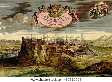 Antique map of mountain fortress. Atlas of fortifications and battles, by Anna Beek and Gaspar Baillieu  Originally published in 17th century. - stock photo
