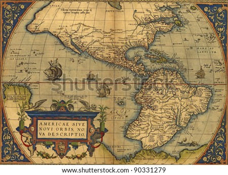 Antique Map of North and South America by Abraham Ortelius, circa 1570 - stock photo