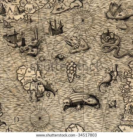 Antique map of Northen Sea (1572, fragment) - stock photo