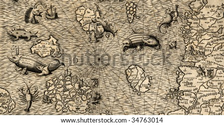 Antique map of Northen Sea (1572, fragment_3) - stock photo