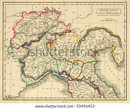 Antique map of northern Italy, line colored, dated 1829. - stock photo