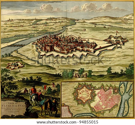 Antique map of Plan of the fortified city of Casale Monferrato , Italy from the Atlas of fortifications and battles, by Anna Beek and Gaspar Baillieu  Originally published in 17th century. - stock photo