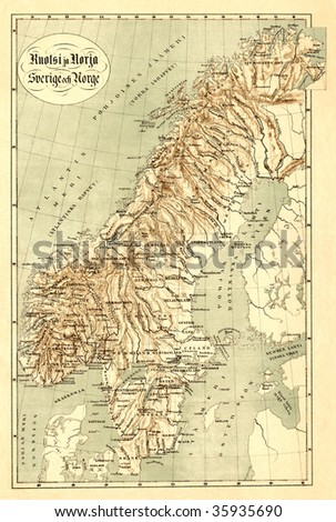 Antique map of Scandinavian (19 centuries). - stock photo
