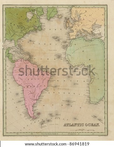 Antique map of the Atlantic Ocean  from the out of print 1841 Goodrich atlas - stock photo