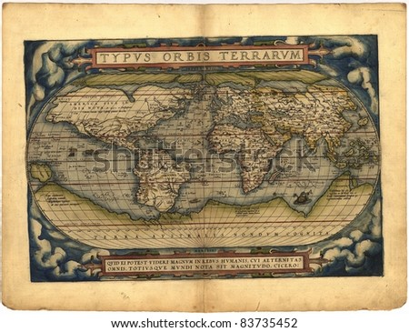Antique Map of the World,  Antique map by Ortelius, circa 1570 Out of copyright - stock photo